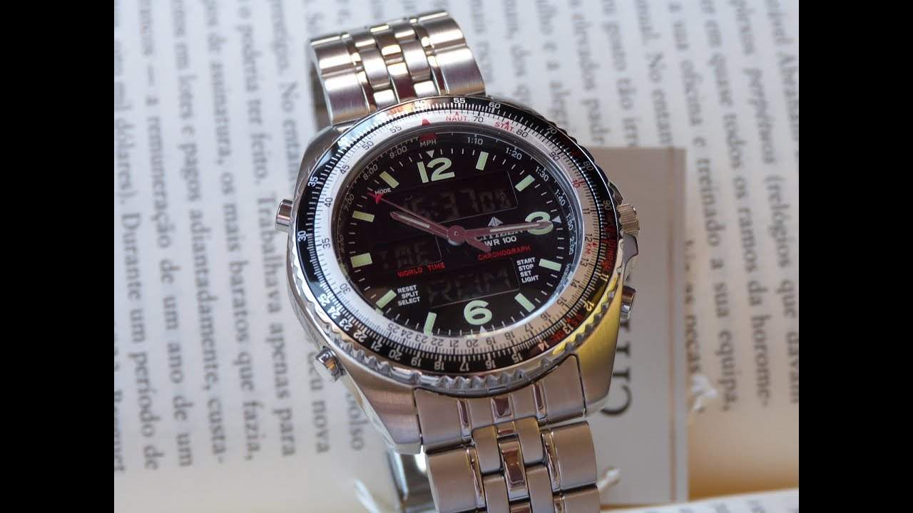 0f780ea0851 Relógio Citizen Wingman World Timer JQ8001-57E TZ10075T Anadigi ...