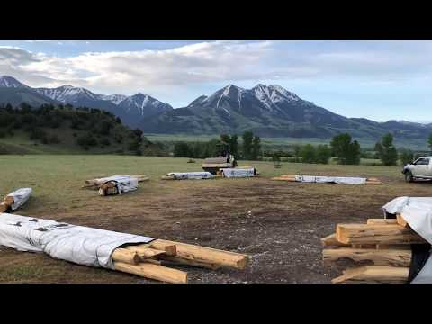Montana Rancher Log Home Floor Assembly Day 1