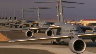 Travis AFB Mass Launch of Lockheed C-5M Super Galaxy & Boeing C-17