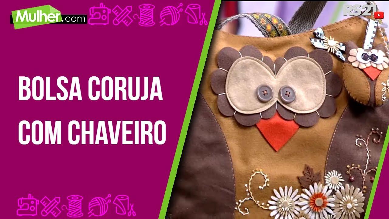 Bolsa De Tecido Decorada Com Coruja : Mulher  bolsa coruja com chaveiro