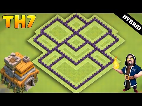 CLASH OF CLANS - TH7 Hybrid BASE 2017 | COC Town Hall 7 Defense With 3 Air Defense
