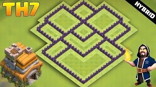 CLASH OF CLANS - TH7 Hybrid BASE 2017   COC Town Hall 7 Defense With 3 Air Defense