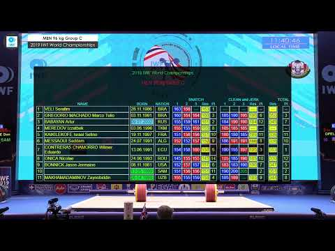 2019 IWF World Championships Day 7 MEN 96 Kg Group C