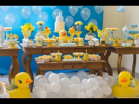 Fiesta de patos o baby shower 2017 party ducks mesa de for Ideas para decorar mesa de dulces