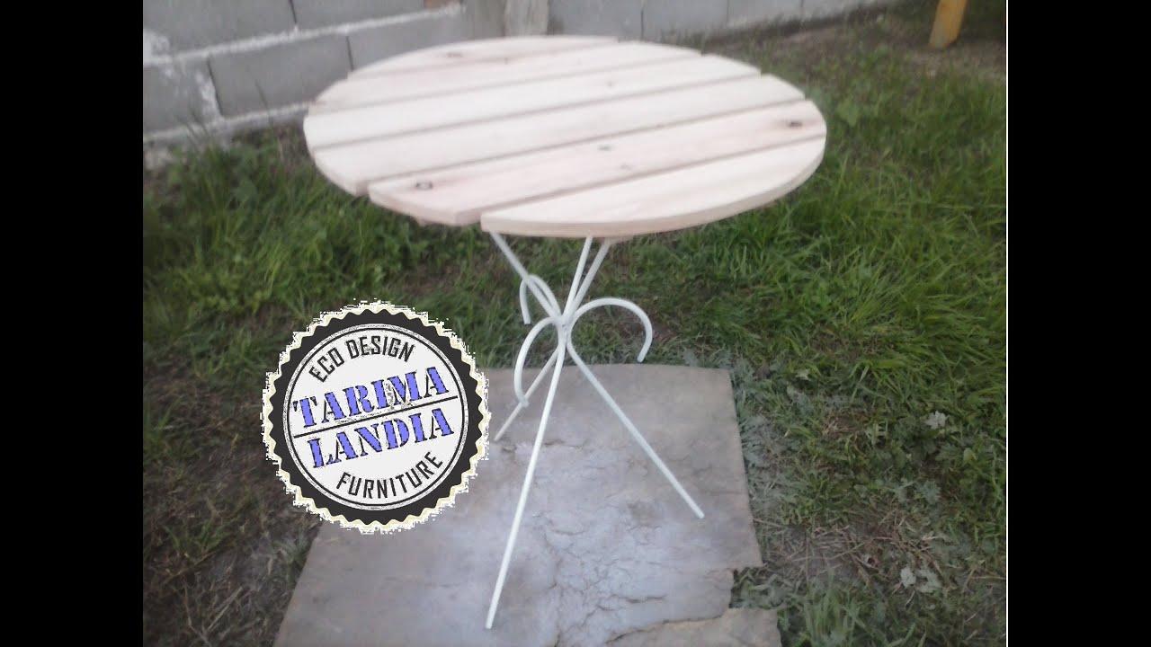 Como hacer una mesa redonda de jardin con maderas de palet for Como hacer una mesa redonda de madera