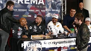 TV STAR CRASHES BELLEW VS. HAYE 2 FINAL PRESS CONFERENCE; BOTH FIGHTERS REACT