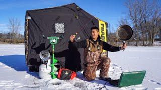 24 Hour Ice Fishing Survival Challenge! (CATCH CLEAN COOK)
