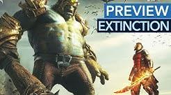 Extinction - Gameplay & Fazit: Kleiner Mann schlägt große Köpfe ab