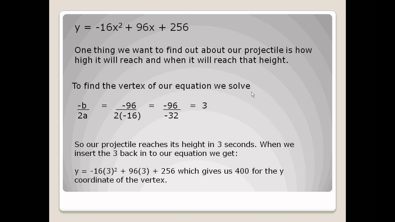 using quadratics to look at projectiles youtube