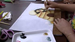Pano prato abelhinha 3d pintura por Priscila Muller Parte 2