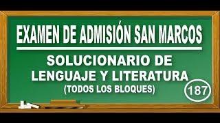 SOLUCIONARIO UNMSM 2018-2 : LENGUAJE Y LITERATURA(TODOS LOS BLOQUES) - ADMISIÓN SAN MARCOS - DECO