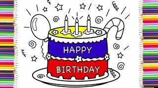 Vẽ Bánh Sinh Nhật và Tô Màu Lấp Lánh    Twinkle Birthday Cake Coloring Pages For Kids