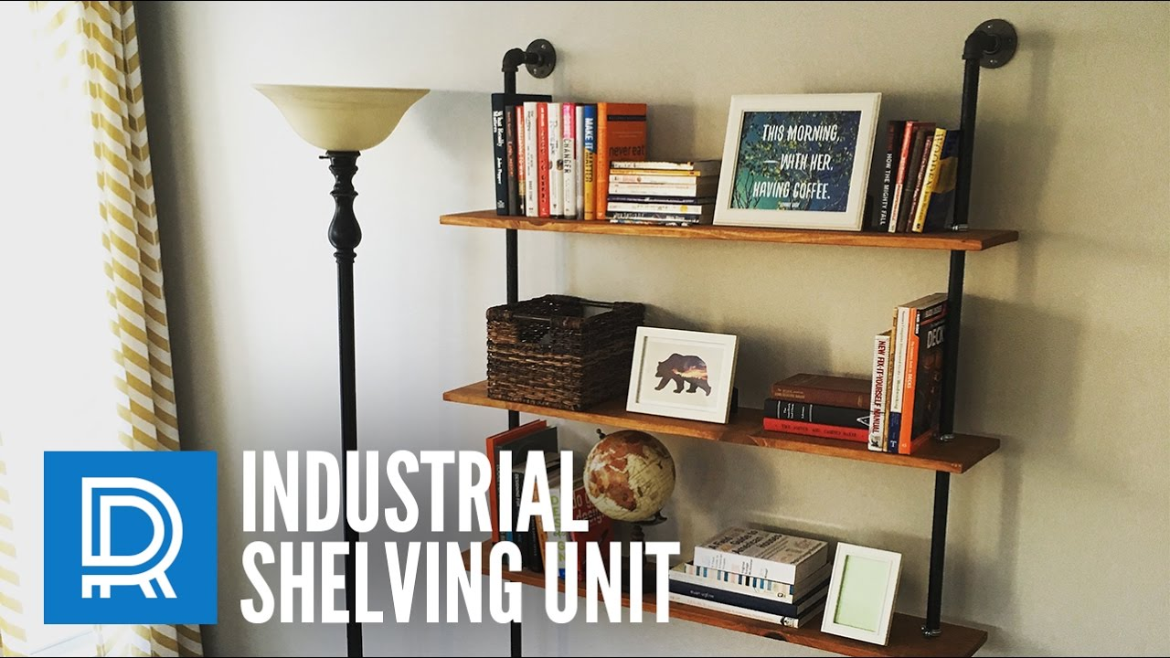 Build a diy industrial pipe shelving unit youtube for Diy industrial bookshelf