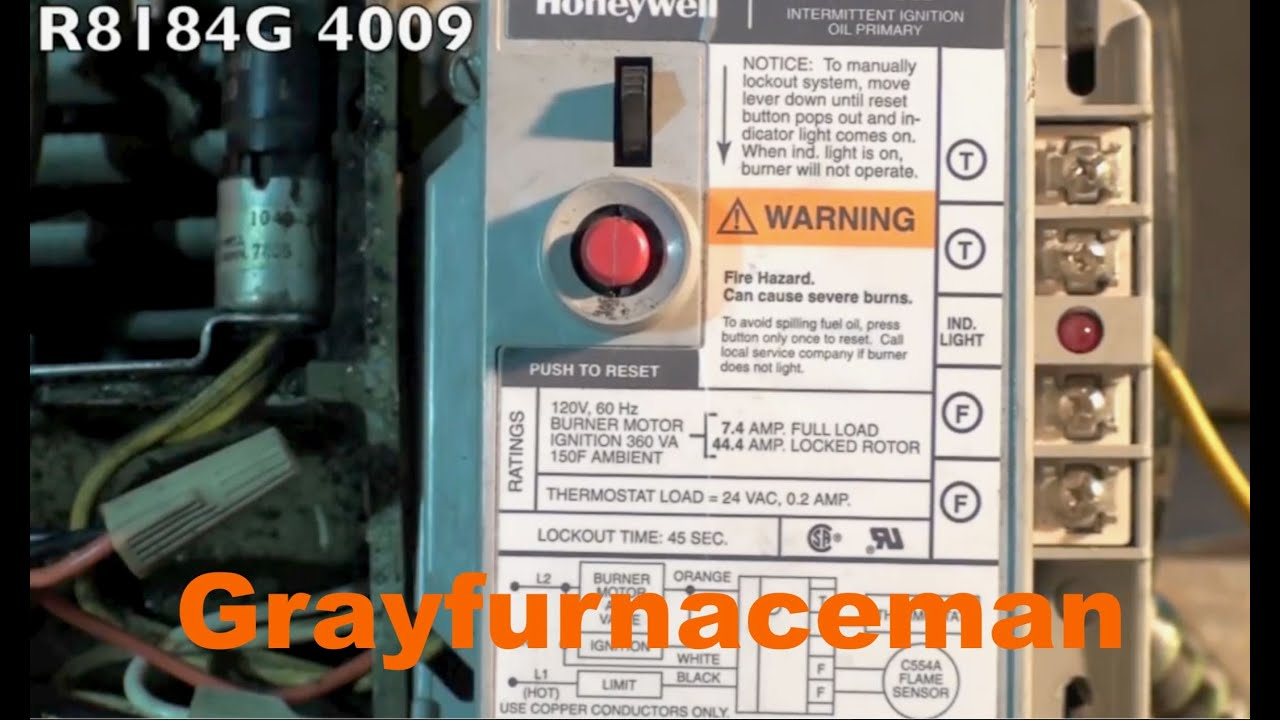 Description of oil furnace burner controls - Gray Furnaceman Furnace on