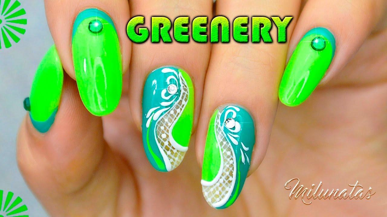 Decoración de uñas sencilla en tono Verde Greenery (Nail Art ...