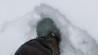 Pt 2, Winter 7-day Solo 2014: Lake Slush, Breakfast, Axe Tap Splitting Firewood