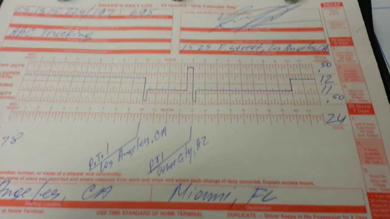 truck log book examples