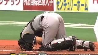 キャッチャー大野が...うずくまる 8月28日 オリックス-日本ハム