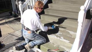 Stucco Acrylics With Sand & Color On Stairs For Slip And Water Resistance