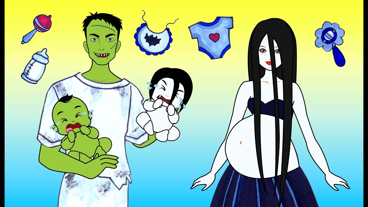 [DIY] Paper Dolls Take Care New Zombie Twin Babies! Funny Baby Kits & Dresses Handmade Papercrafts