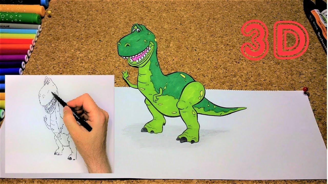 Imprima E Pinte O Dinossauro 3D