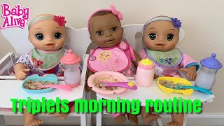 Baby Alive Morning Routine with triplets 👶