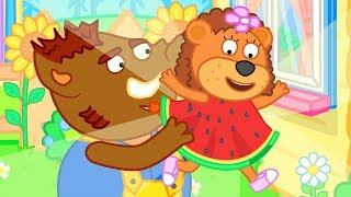 Lion Family  Mother bought new Water Melon Dress Cartoon for Kids