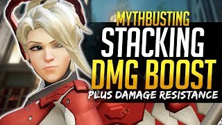 Overwatch MythBusters - DAMAGE BOOST STACKING - Plus Damage Resistance Stacking