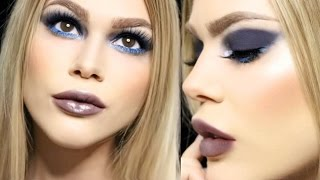 chit chat grwm sexy blue smokey eye vampy lips