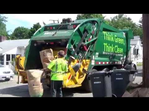 Waste Management 311938 ~ CNG Mack MRU McNeilus XC Rear Loader On Yard Waste In Dedham