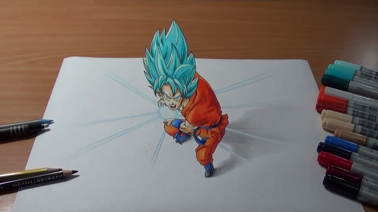 Drawing Goku Super Saiyan Blue Kamehameha in 3D / كيفية ...