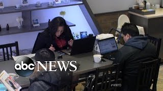 "Woman Makes Local Coffee Shop Her ""Office"" 