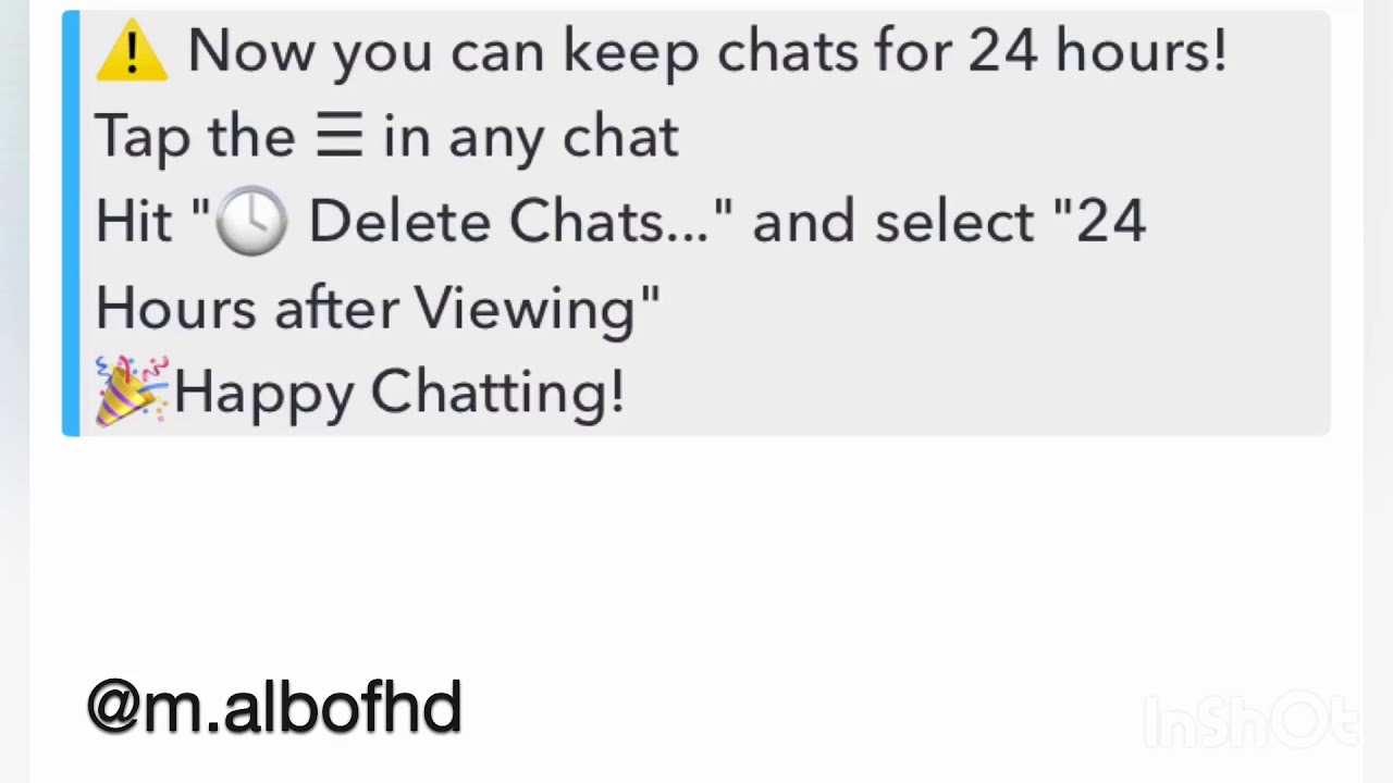 Save Your Chat for 24 Hours in snapchat