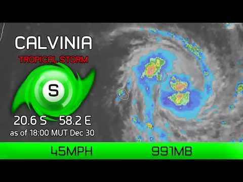 Cyclone Calvinia circles near Mauritius - 6pm MUT Dec 30, 2019