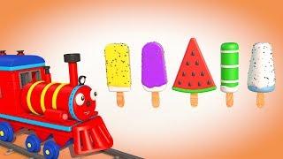 Мультики про паровозики.Раскрашиваем Мороженое.УЧИМ ЦВЕТА с Паровозиком Олли–Развивающий мультфильм
