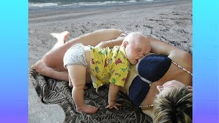Try Not To Laugh : Funny Situation Babies when Go to Beach the First Time