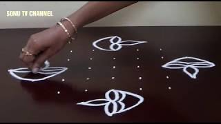 9 DOTS KOLAM || KARTHIGAI DEEPAM KOLAM || RANGOLI FOR BEGINNERS  || HOW TO DRAW ||