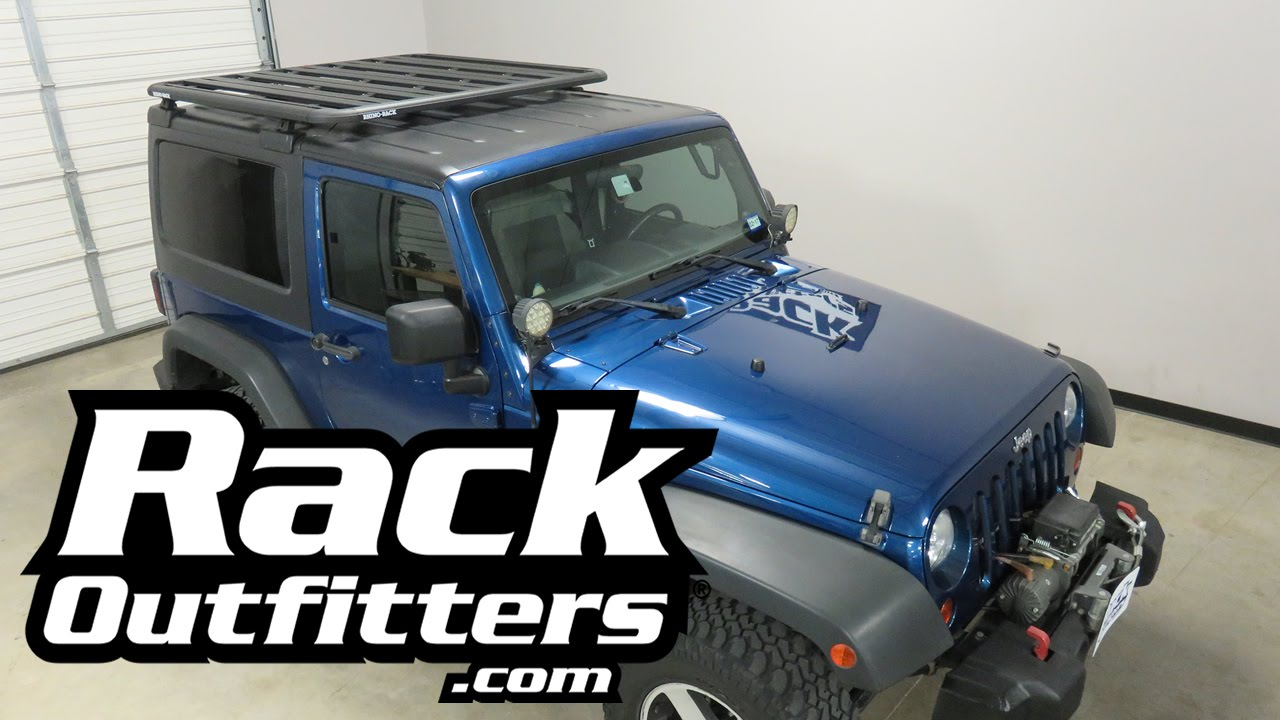 Jeep JK Wrangler 2 Door Hard Top with Rhino Rack Pioneer Tray BackBone Roof Rack & Jeep JK Wrangler 2 Door Hard Top with Rhino Rack Pioneer Tray ...
