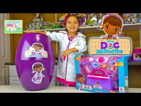 Thumbnail: HUGE SURPRISE EGG DOC MCSTUFFINS + Surprise Toys + Play-Doh Doc McStuffins Kid-Friendly Toy Opening