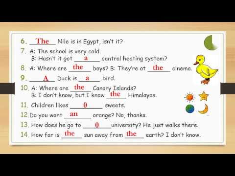 Exercise - Definite / Indefinite Articles A,an, The Or 0 - Easy English Lesson