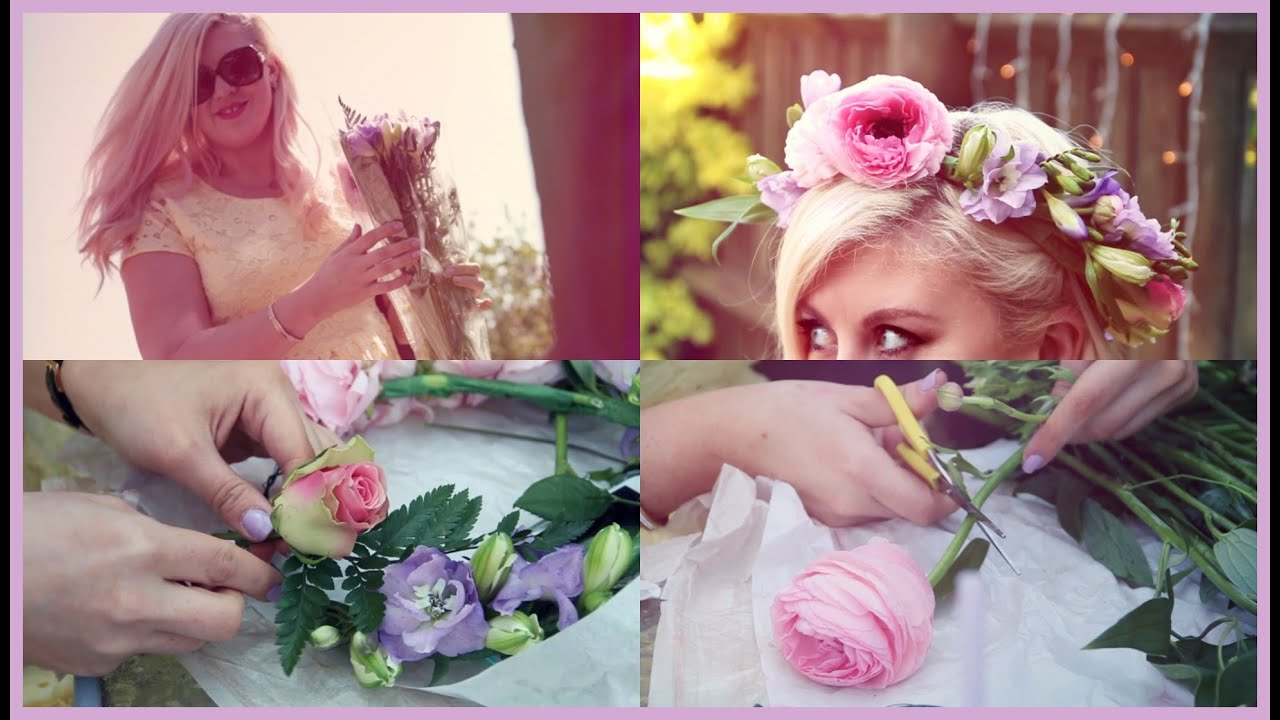 Super Easy Fresh Flower Crown Tutorial Youtube