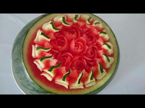 แกะสลักแตงโม watermelon carving design แกะสลักผักผลไม้| Thai carving by Arm