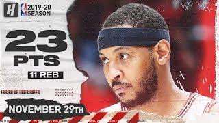 Carmelo Anthony 23 Pts 11 Reb Full Highlights   Bulls vs Blazers   November 29, 2019
