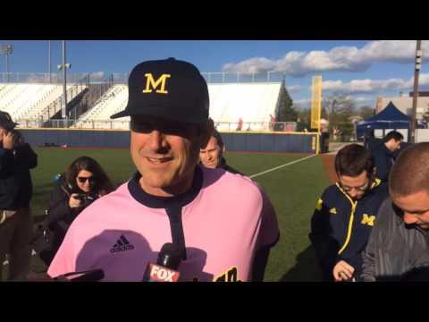 Jim Harbaugh joins the Michigan Softball Academy