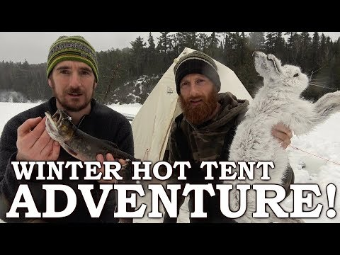 3 DAYS in WINTER HOT TENT with WOOD STOVE on SECRET LAKE | I