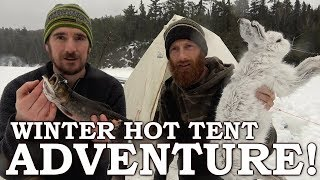 3 Days in tнe Winter Hot Tent, Wood Stove on Secret Lake | Ice Fishing for Native Brook Trout