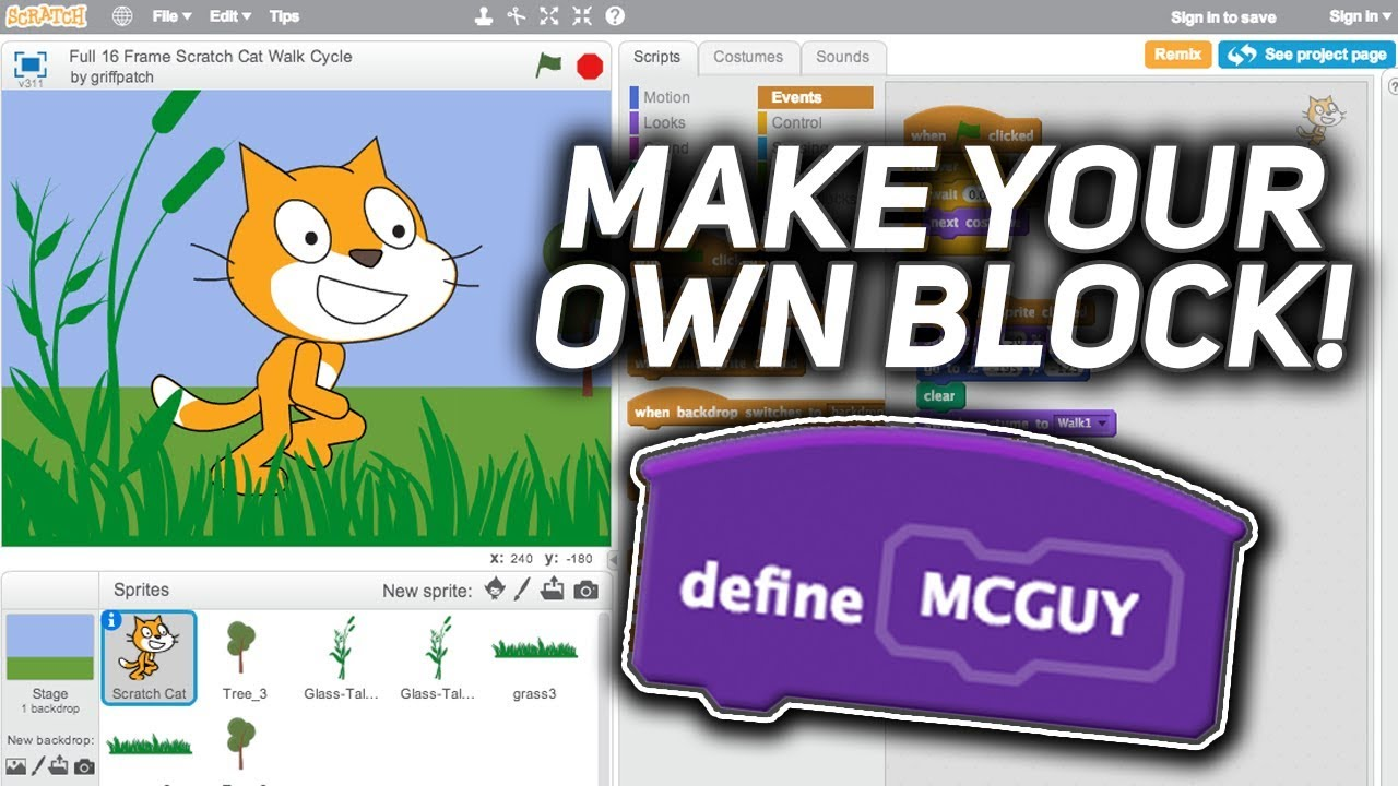 Scratch Tutorial: Make your own block! (More blocks)