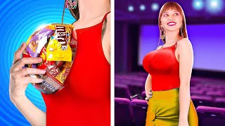 SNEAK SNACKS AWESOME HACKS!  How To Sneak Food With 123 Go! LIVE