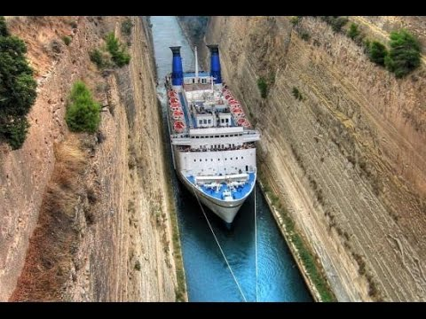 Ship traffic in Corinth Canal - Greece