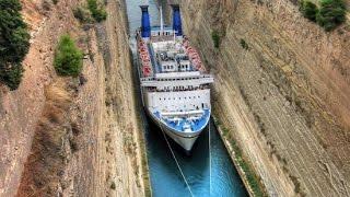 Ship traffic in Corinth Canal  Greece